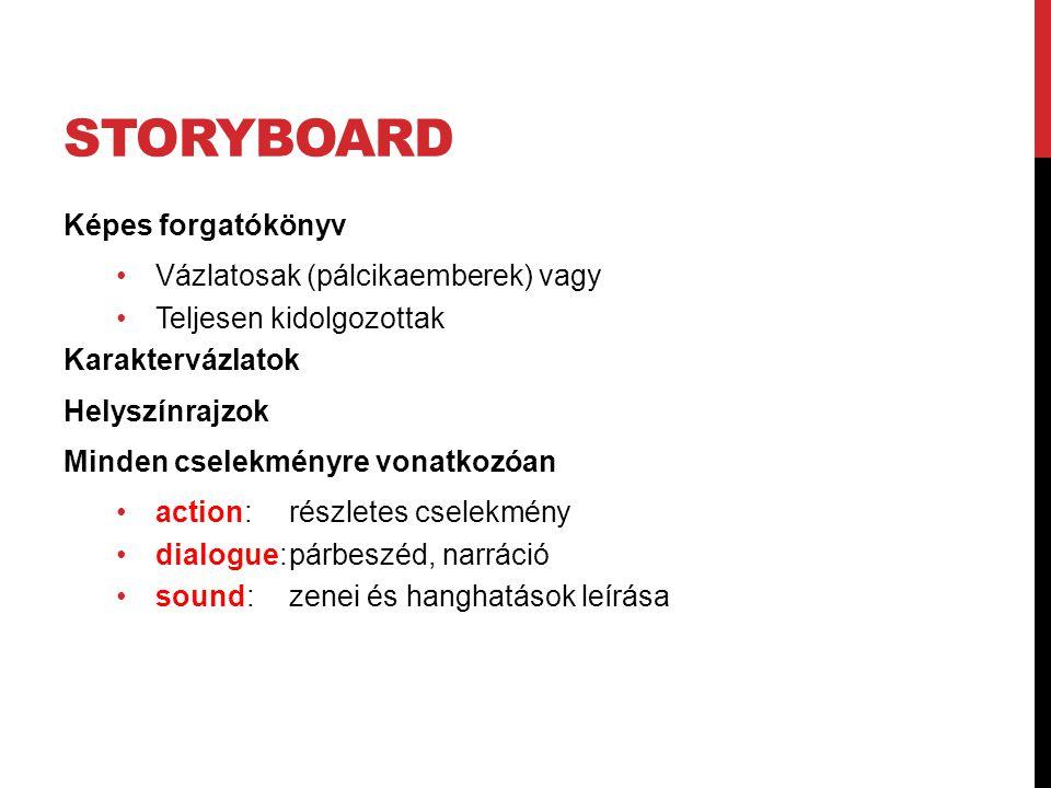 STORYBOARD Képes forgatókönyv Vázlatosak (pálcikaemberek) vagy Teljesen kidolgozottak Karaktervázlatok Helyszínrajzok Minden cselekményre vonatkozóan action: részletes cselekmény dialogue:párbeszéd, narráció sound: zenei és hanghatások leírása