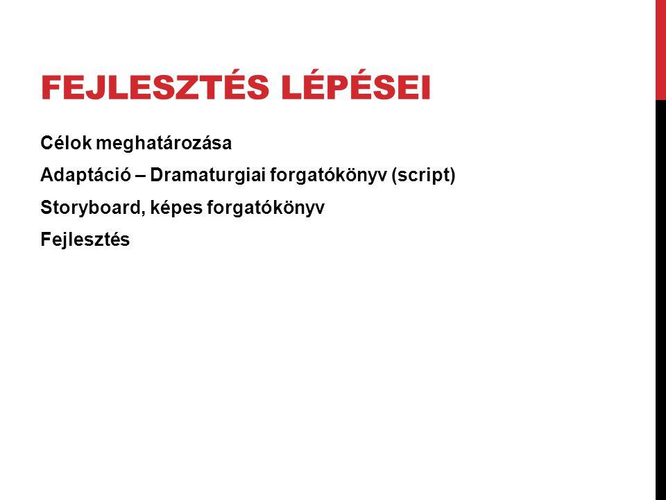 FEJLESZTÉS LÉPÉSEI Célok meghatározása Adaptáció – Dramaturgiai forgatókönyv (script) Storyboard, képes forgatókönyv Fejlesztés