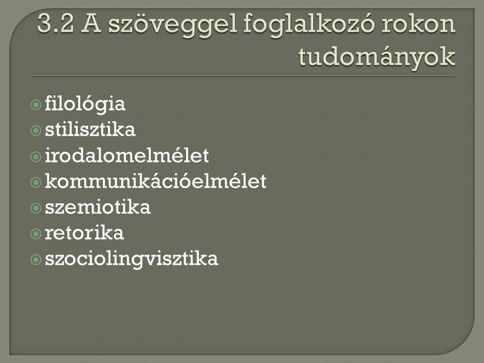  filológia  stilisztika  irodalomelmélet  kommunikációelmélet  szemiotika  retorika  szociolingvisztika