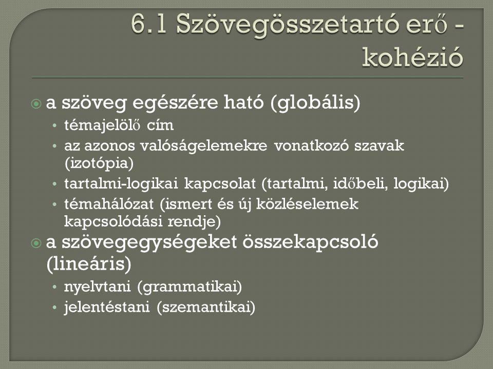  a szöveg egészére ható (globális) témajelöl ő cím az azonos valóságelemekre vonatkozó szavak (izotópia) tartalmi-logikai kapcsolat (tartalmi, id ő b