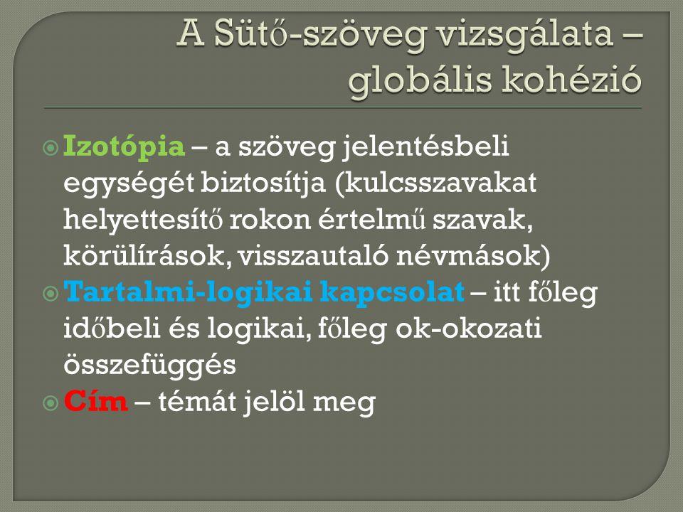  Izotópia – a szöveg jelentésbeli egységét biztosítja (kulcsszavakat helyettesít ő rokon értelm ű szavak, körülírások, visszautaló névmások)  Tartal