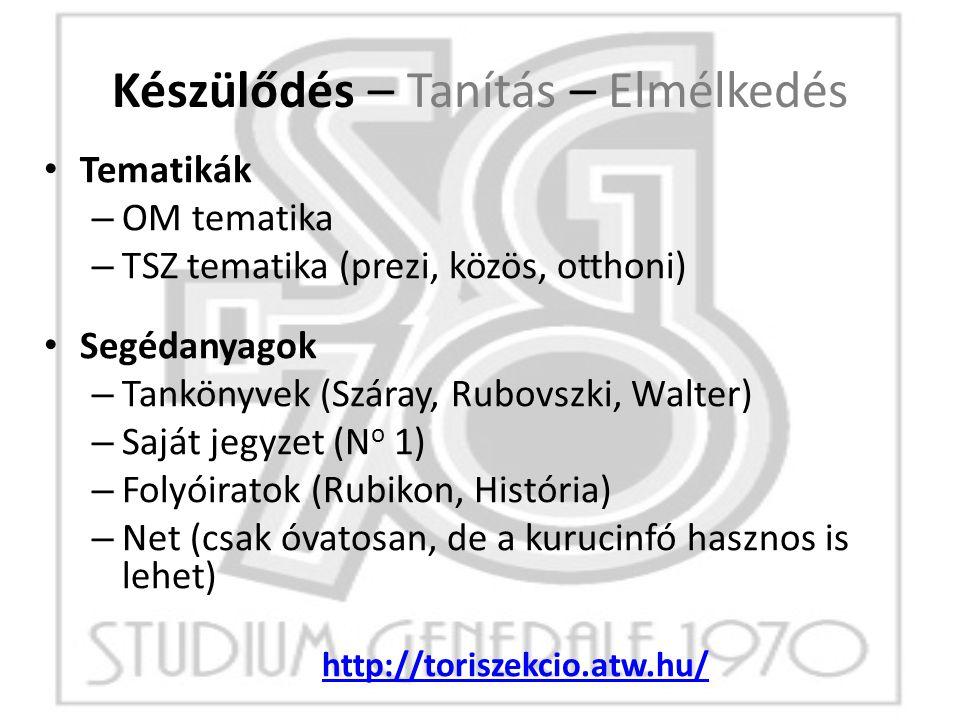 Készülődés – Tanítás – Elmélkedés Tematikák – OM tematika – TSZ tematika (prezi, közös, otthoni) Segédanyagok – Tankönyvek (Száray, Rubovszki, Walter)