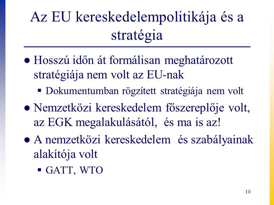 Az EU kereskedelempolitikája és a stratégia ● Hosszú időn át formálisan meghatározott stratégiája nem volt az EU-nak  Dokumentumban rögzített stratég