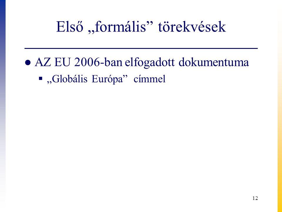 """Első """"formális"""" törekvések ● AZ EU 2006-ban elfogadott dokumentuma  """"Globális Európa"""" címmel 12"""
