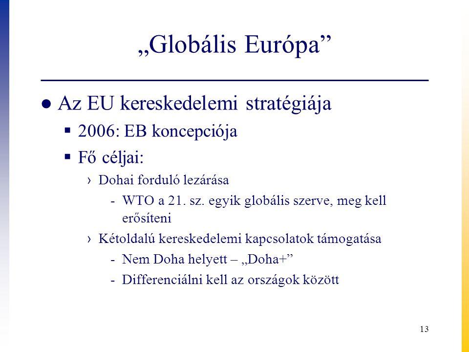 """""""Globális Európa"""" ● Az EU kereskedelemi stratégiája  2006: EB koncepciója  Fő céljai: › Dohai forduló lezárása -WTO a 21. sz. egyik globális szerve,"""