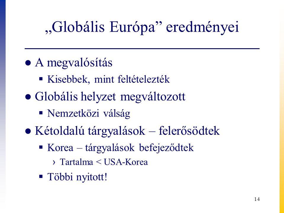 """""""Globális Európa eredményei ● A megvalósítás  Kisebbek, mint feltételezték ● Globális helyzet megváltozott  Nemzetközi válság ● Kétoldalú tárgyalások – felerősödtek  Korea – tárgyalások befejeződtek › Tartalma < USA-Korea  Többi nyitott."""