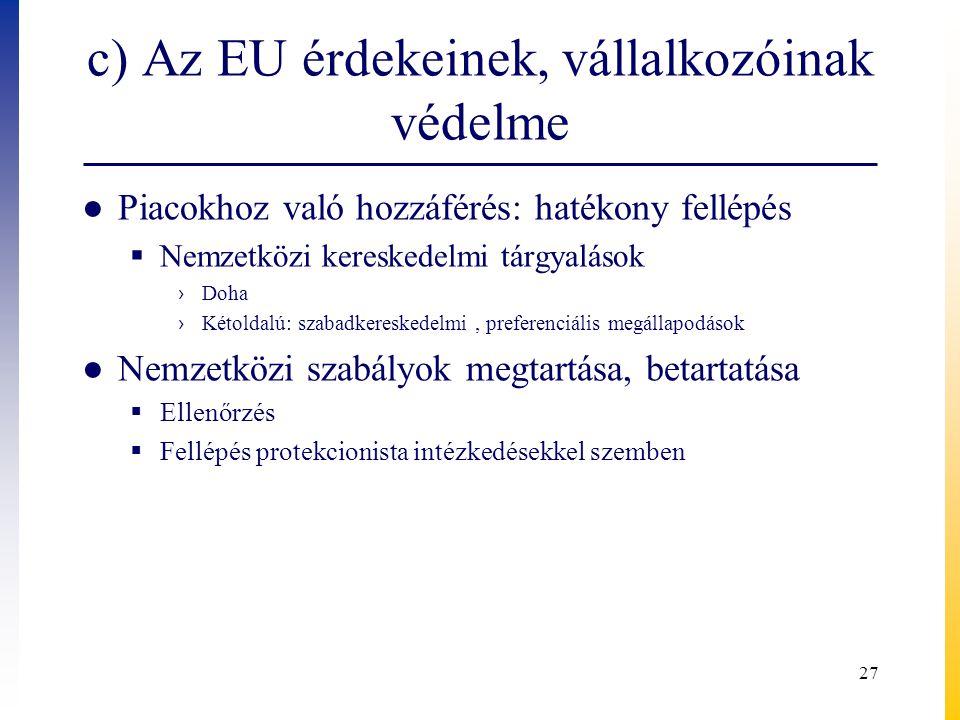 c) Az EU érdekeinek, vállalkozóinak védelme ● Piacokhoz való hozzáférés: hatékony fellépés  Nemzetközi kereskedelmi tárgyalások › Doha › Kétoldalú: szabadkereskedelmi, preferenciális megállapodások ● Nemzetközi szabályok megtartása, betartatása  Ellenőrzés  Fellépés protekcionista intézkedésekkel szemben 27