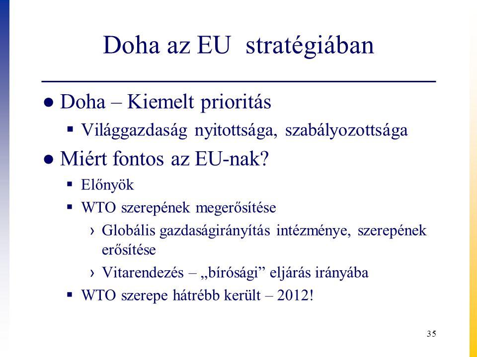 Doha az EU stratégiában ● Doha – Kiemelt prioritás  Világgazdaság nyitottsága, szabályozottsága ● Miért fontos az EU-nak?  Előnyök  WTO szerepének