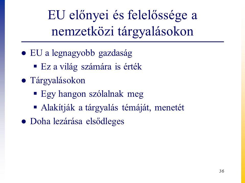 EU előnyei és felelőssége a nemzetközi tárgyalásokon ● EU a legnagyobb gazdaság  Ez a világ számára is érték ● Tárgyalásokon  Egy hangon szólalnak m