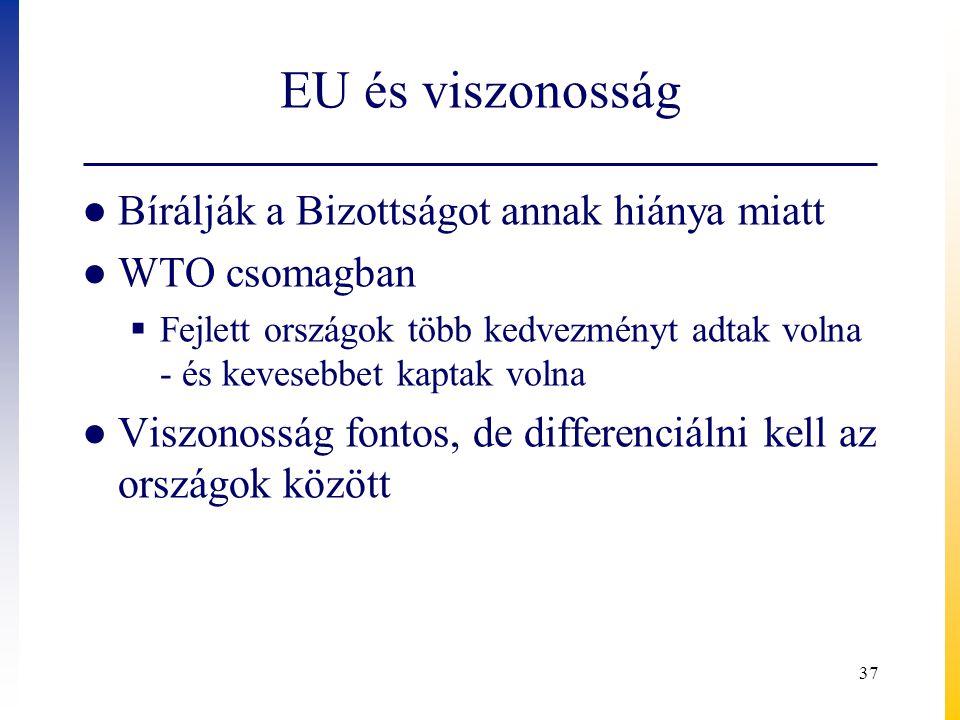 EU és viszonosság ● Bírálják a Bizottságot annak hiánya miatt ● WTO csomagban  Fejlett országok több kedvezményt adtak volna - és kevesebbet kaptak v