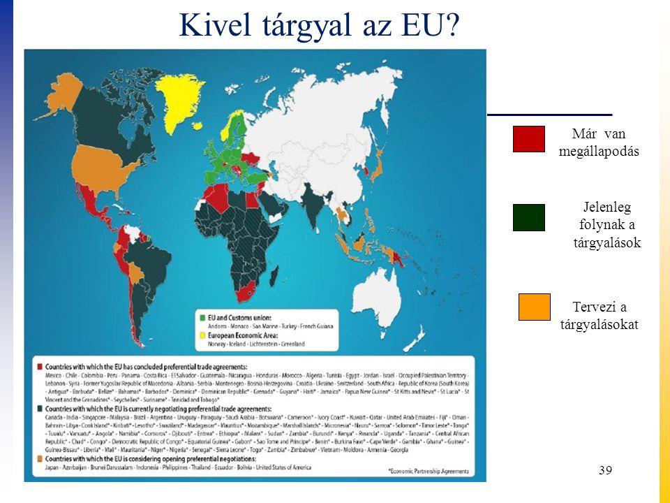 39 Kivel tárgyal az EU? Már van megállapodás Jelenleg folynak a tárgyalások Tervezi a tárgyalásokat