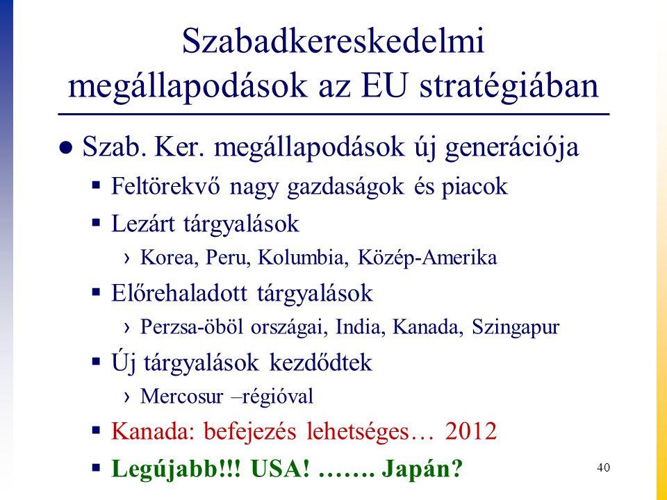 Szabadkereskedelmi megállapodások az EU stratégiában ● Szab. Ker. megállapodások új generációja  Feltörekvő nagy gazdaságok és piacok  Lezárt tárgya