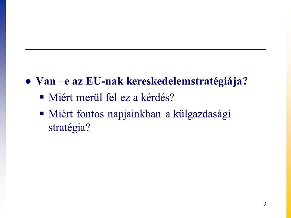 Az EU kereskedelempolitikája és a stratégia ● Hosszú időn át formálisan meghatározott stratégiája nem volt az EU-nak  Dokumentumban rögzített stratégiája nem volt ● Nemzetközi kereskedelem főszereplője volt, az EGK megalakulásától, és ma is az.
