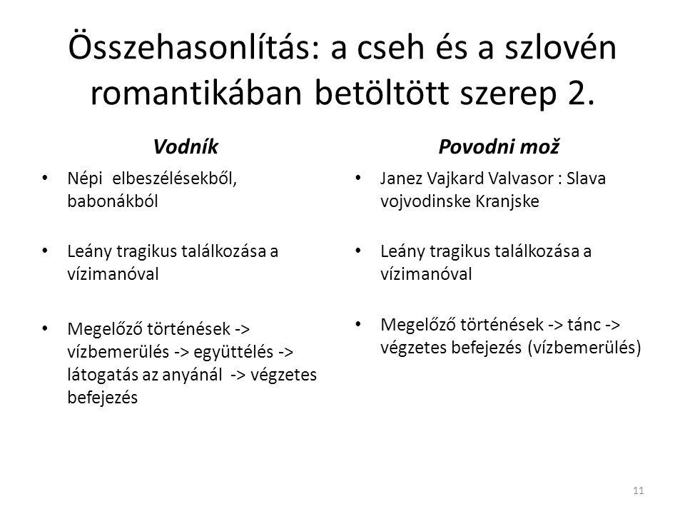 Összehasonlítás: a cseh és a szlovén romantikában betöltött szerep 2. Vodník Népi elbeszélésekből, babonákból Leány tragikus találkozása a vízimanóval