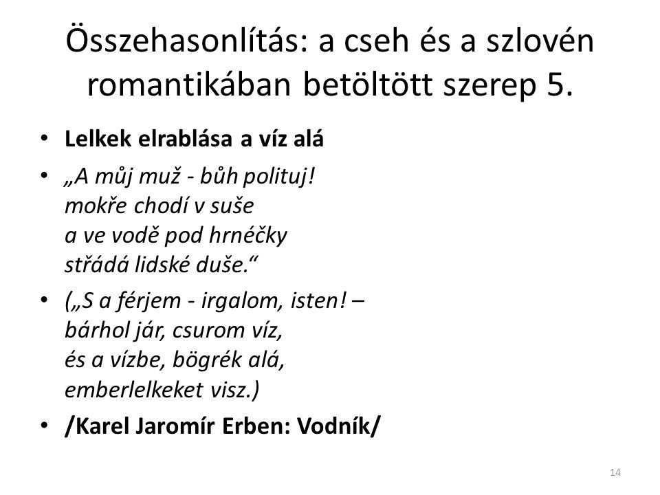 """Összehasonlítás: a cseh és a szlovén romantikában betöltött szerep 5. Lelkek elrablása a víz alá """"A můj muž - bůh polituj! mokře chodí v suše a ve vod"""