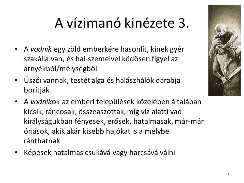 A vízimanó alakjának ábrázolása a szépirodalomban Ontológia/metafizikai (legalapvetőbb szempont) Etikai (kísértés természete) Idillikus (a természet és az ember együttélése) Erotikus (ördögök - vodníkova nevěstka) Krajinotvorný vodník (a vodník-karakter befolyásolja egy terület képét (saját) történelméről, szokásairól, a meséken keresztül segíti a kultúra felépülését) 9