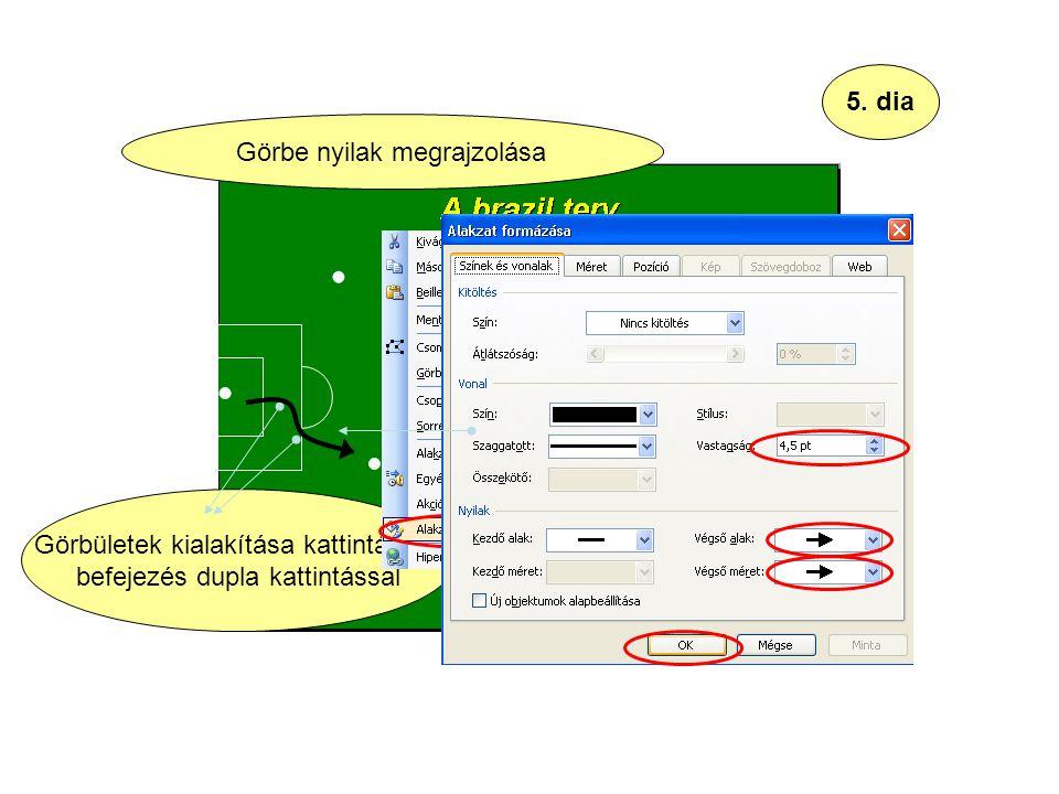 5. dia Görbületek kialakítása kattintással, befejezés dupla kattintással Görbe nyilak megrajzolása