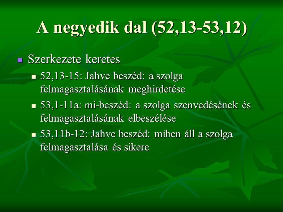 A negyedik dal (52,13-53,12) Szerkezete keretes Szerkezete keretes 52,13-15: Jahve beszéd: a szolga felmagasztalásának meghirdetése 52,13-15: Jahve beszéd: a szolga felmagasztalásának meghirdetése 53,1-11a: mi-beszéd: a szolga szenvedésének és felmagasztalásának elbeszélése 53,1-11a: mi-beszéd: a szolga szenvedésének és felmagasztalásának elbeszélése 53,11b-12: Jahve beszéd: miben áll a szolga felmagasztalása és sikere 53,11b-12: Jahve beszéd: miben áll a szolga felmagasztalása és sikere