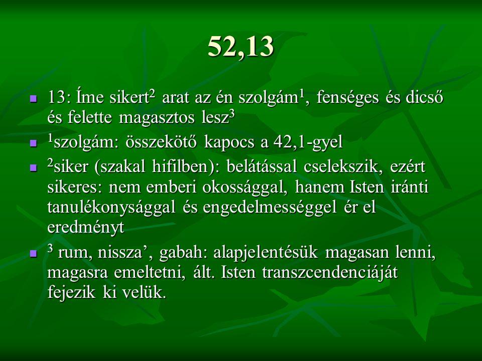 52,13 13: Íme sikert 2 arat az én szolgám 1, fenséges és dicső és felette magasztos lesz 3 13: Íme sikert 2 arat az én szolgám 1, fenséges és dicső és felette magasztos lesz 3 1 szolgám: összekötő kapocs a 42,1-gyel 1 szolgám: összekötő kapocs a 42,1-gyel 2 siker (szakal hifilben): belátással cselekszik, ezért sikeres: nem emberi okossággal, hanem Isten iránti tanulékonysággal és engedelmességgel ér el eredményt 2 siker (szakal hifilben): belátással cselekszik, ezért sikeres: nem emberi okossággal, hanem Isten iránti tanulékonysággal és engedelmességgel ér el eredményt 3 rum, nissza', gabah: alapjelentésük magasan lenni, magasra emeltetni, ált.