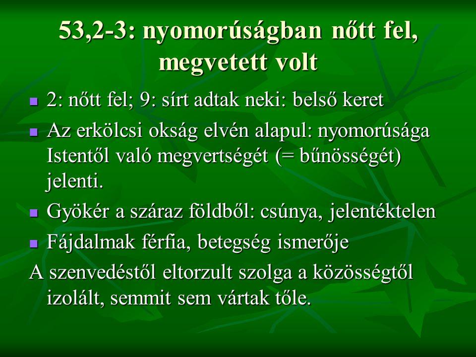 53,2-3: nyomorúságban nőtt fel, megvetett volt 2: nőtt fel; 9: sírt adtak neki: belső keret 2: nőtt fel; 9: sírt adtak neki: belső keret Az erkölcsi o