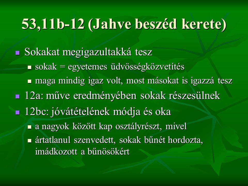 53,11b-12 (Jahve beszéd kerete) Sokakat megigazultakká tesz Sokakat megigazultakká tesz sokak = egyetemes üdvösségközvetítés sokak = egyetemes üdvösségközvetítés maga mindig igaz volt, most másokat is igazzá tesz maga mindig igaz volt, most másokat is igazzá tesz 12a: műve eredményében sokak részesülnek 12a: műve eredményében sokak részesülnek 12bc: jóvátételének módja és oka 12bc: jóvátételének módja és oka a nagyok között kap osztályrészt, mivel a nagyok között kap osztályrészt, mivel ártatlanul szenvedett, sokak bűnét hordozta, imádkozott a bűnösökért ártatlanul szenvedett, sokak bűnét hordozta, imádkozott a bűnösökért