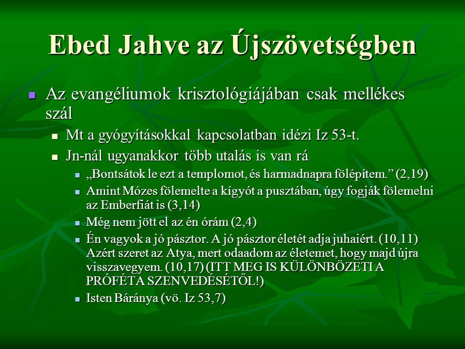 Ebed Jahve az Újszövetségben Az evangéliumok krisztológiájában csak mellékes szál Az evangéliumok krisztológiájában csak mellékes szál Mt a gyógyításokkal kapcsolatban idézi Iz 53-t.