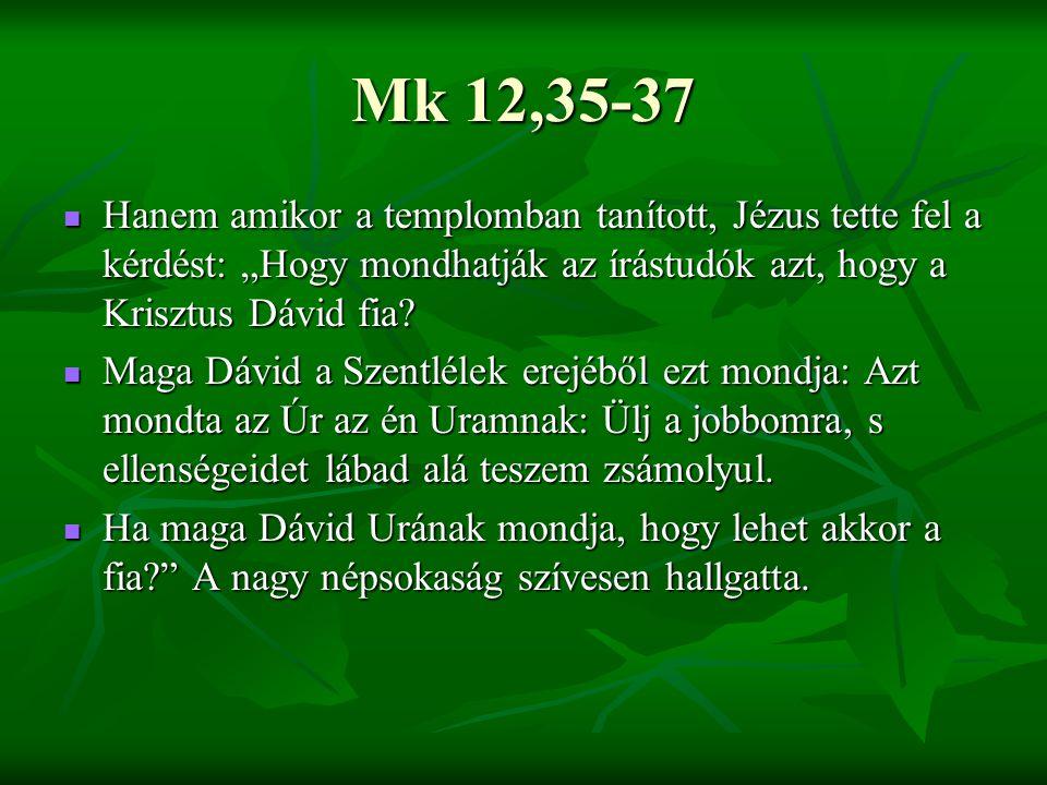 """Mk 12,35-37 Hanem amikor a templomban tanított, Jézus tette fel a kérdést: """"Hogy mondhatják az írástudók azt, hogy a Krisztus Dávid fia."""