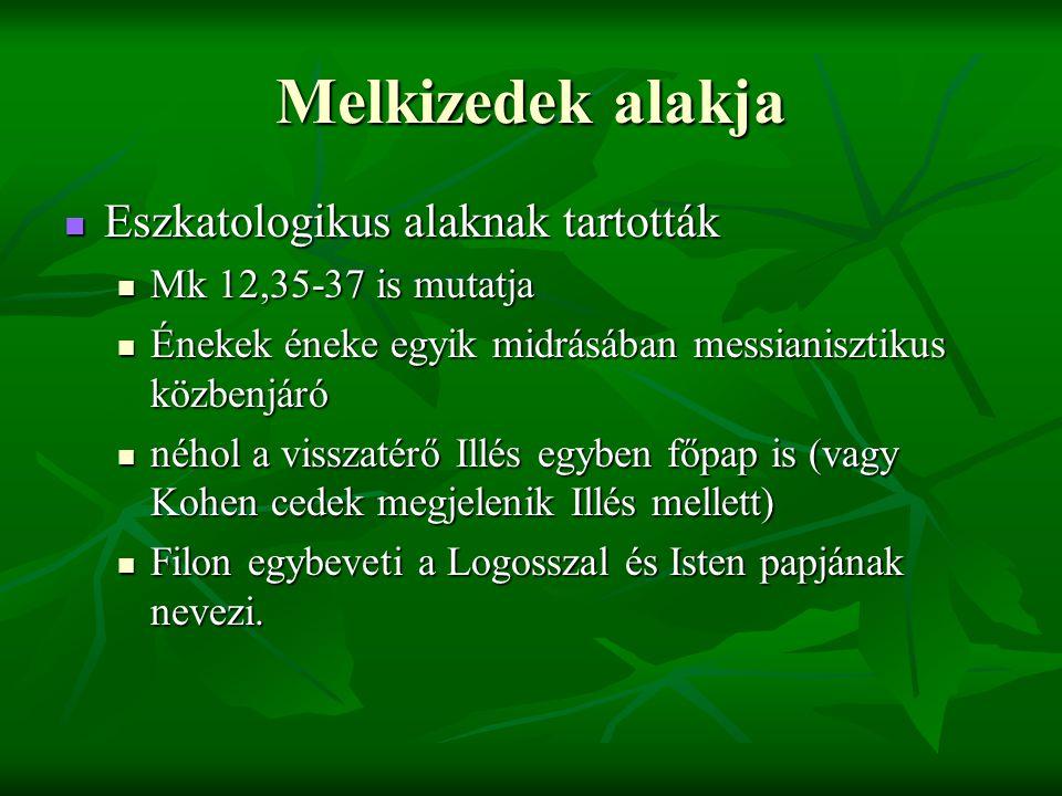 Melkizedek alakja Eszkatologikus alaknak tartották Eszkatologikus alaknak tartották Mk 12,35-37 is mutatja Mk 12,35-37 is mutatja Énekek éneke egyik m