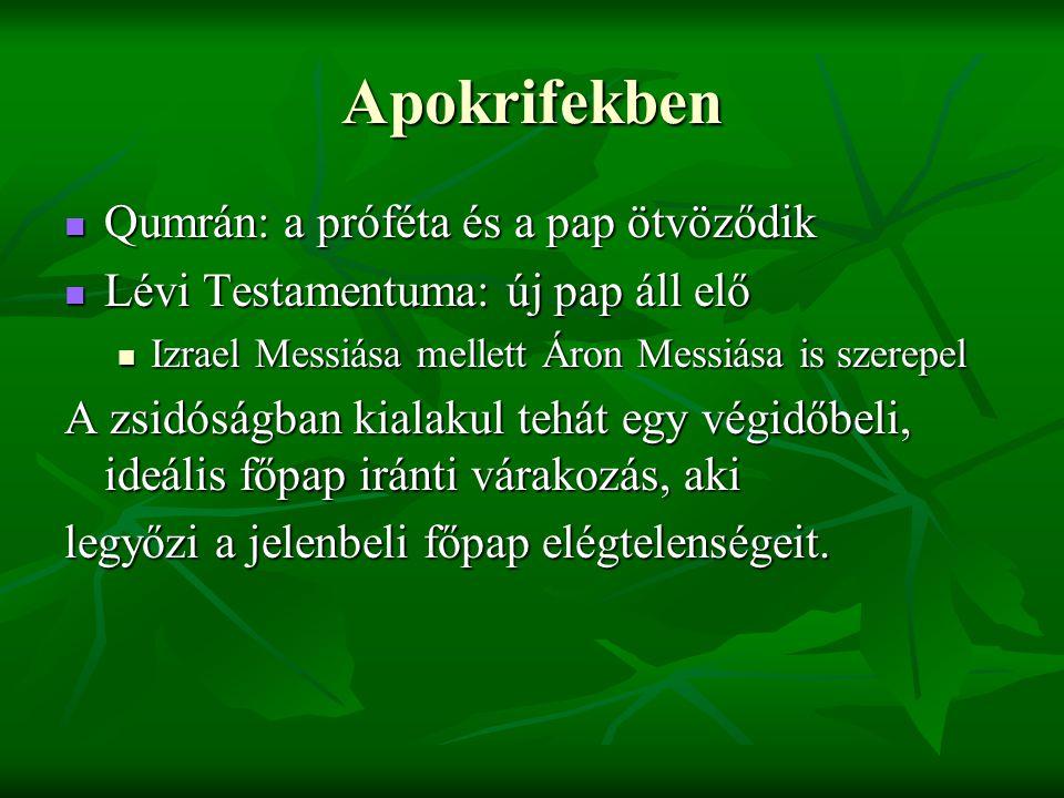 Apokrifekben Qumrán: a próféta és a pap ötvöződik Qumrán: a próféta és a pap ötvöződik Lévi Testamentuma: új pap áll elő Lévi Testamentuma: új pap áll
