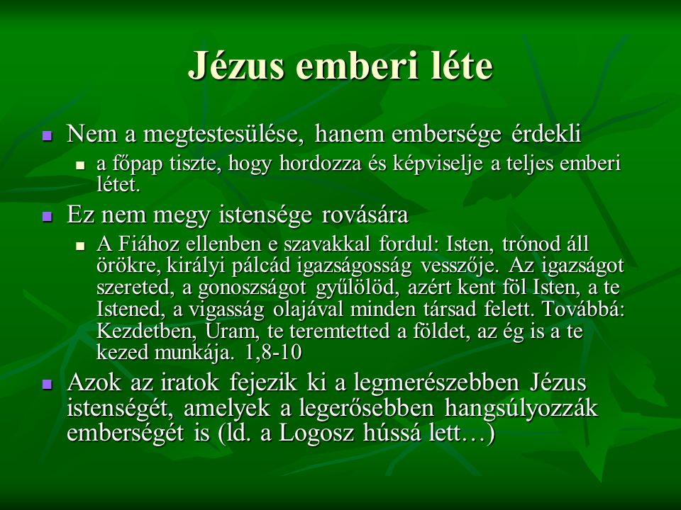 Jézus emberi léte Nem a megtestesülése, hanem embersége érdekli Nem a megtestesülése, hanem embersége érdekli a főpap tiszte, hogy hordozza és képviselje a teljes emberi létet.