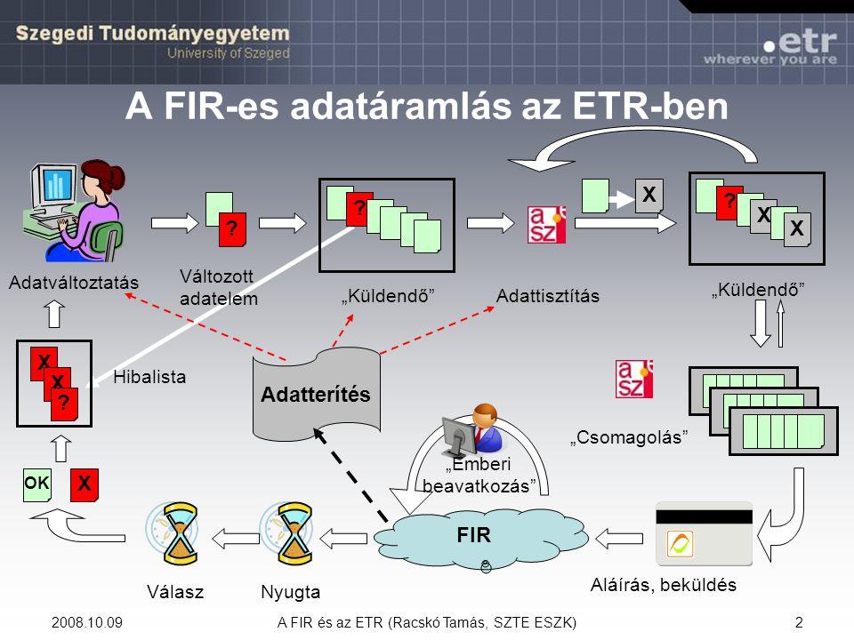 """2008.10.09A FIR és az ETR (Racskó Tamás, SZTE ESZK)23 Korábbi támogatott félévek  Csak hallgató esetén – FIR  -ben jelent meg A FIR időszaka (2006.03.01) előtt az intézményben eltöltött támogatott aktív félévek száma Az ETR a tanulmányi bokorból a féléves hallgatói adatok közül veszi: –a """"Norm."""