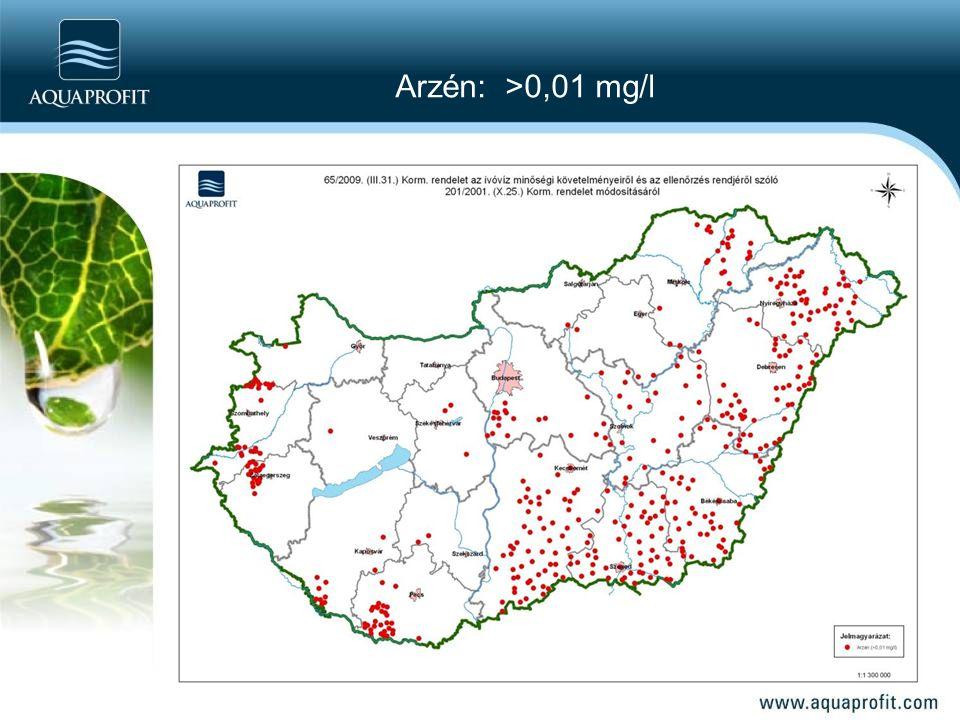 Arzén: >0,01 mg/l
