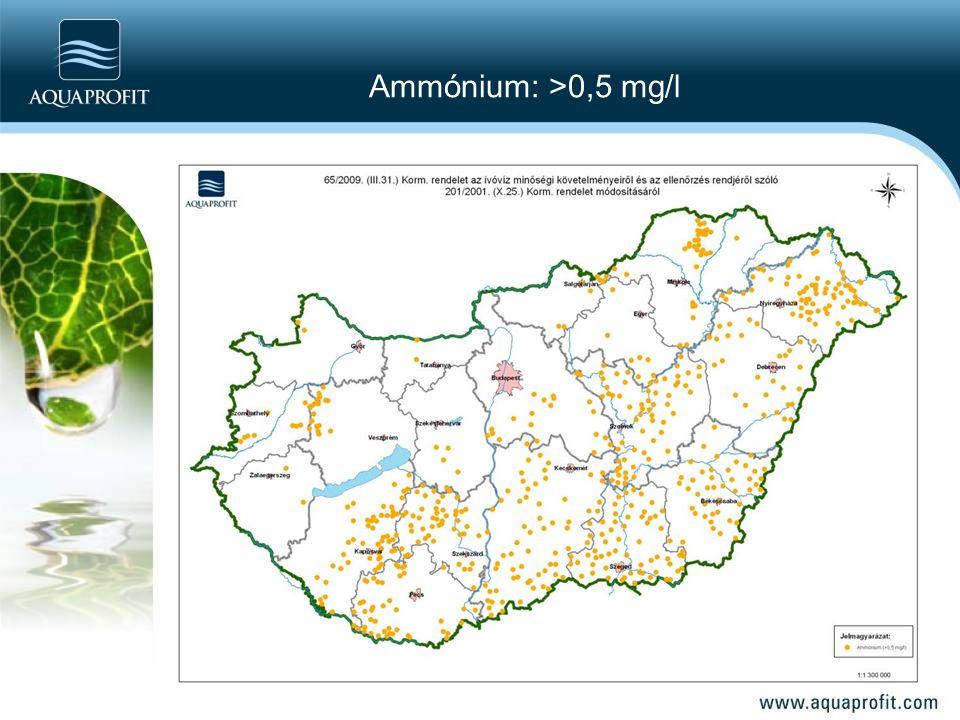 Ammónium: >0,5 mg/l
