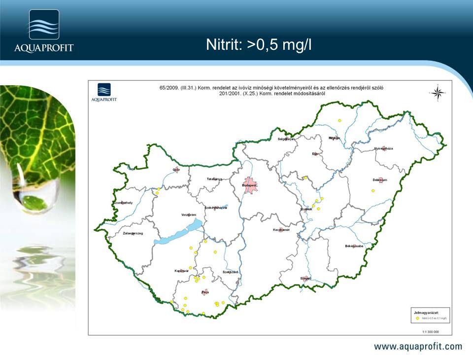 Nitrit: >0,5 mg/l