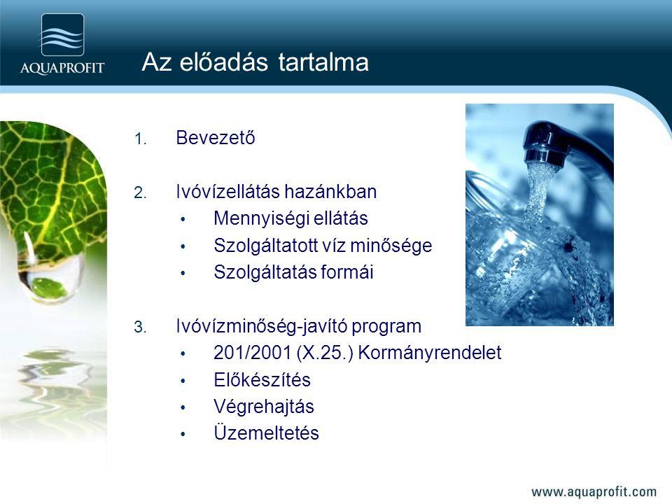 1. Bevezető 2. Ivóvízellátás hazánkban Mennyiségi ellátás Szolgáltatott víz minősége Szolgáltatás formái 3. Ivóvízminőség-javító program 201/2001 (X.2