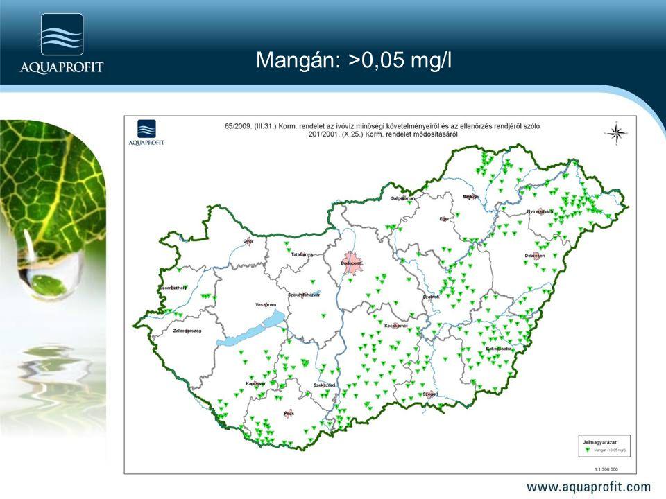 Mangán: >0,05 mg/l