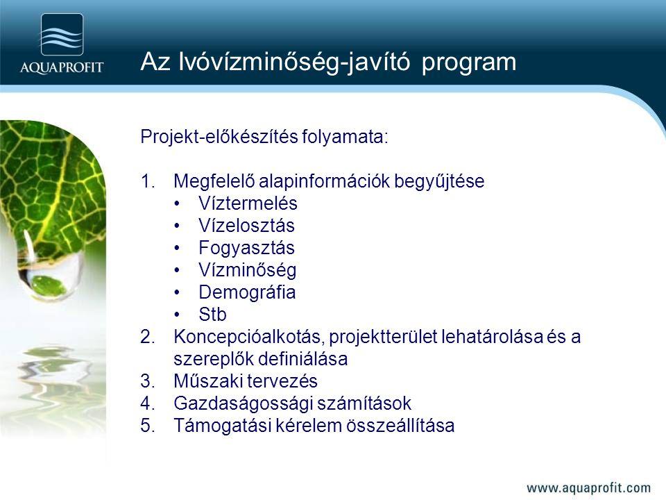 Projekt-előkészítés folyamata: 1.Megfelelő alapinformációk begyűjtése Víztermelés Vízelosztás Fogyasztás Vízminőség Demográfia Stb 2.Koncepcióalkotás,