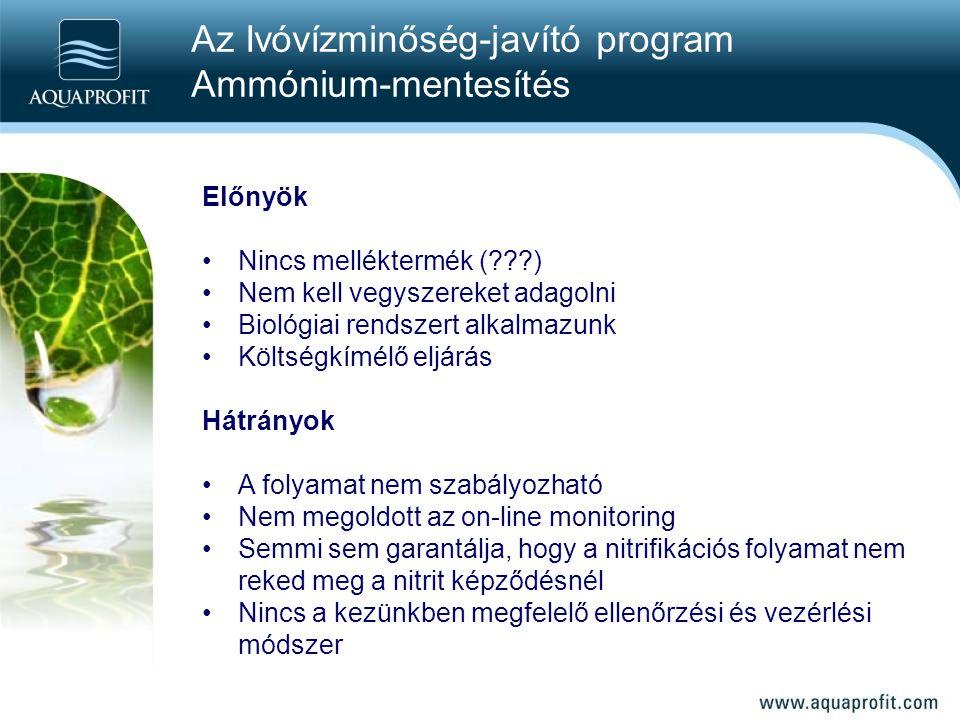 Előnyök Nincs melléktermék (???) Nem kell vegyszereket adagolni Biológiai rendszert alkalmazunk Költségkímélő eljárás Hátrányok A folyamat nem szabály