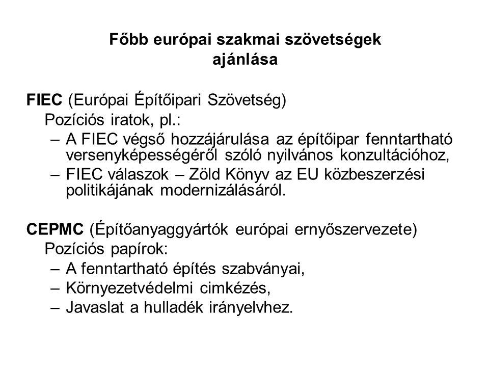 Főbb európai szakmai szövetségek ajánlása FIEC (Európai Építőipari Szövetség) Pozíciós iratok, pl.: –A FIEC végső hozzájárulása az építőipar fenntarth