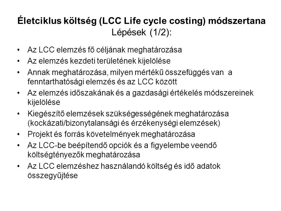 Életciklus költség (LCC Life cycle costing) módszertana Lépések (1/2): Az LCC elemzés fő céljának meghatározása Az elemzés kezdeti területének kijelöl