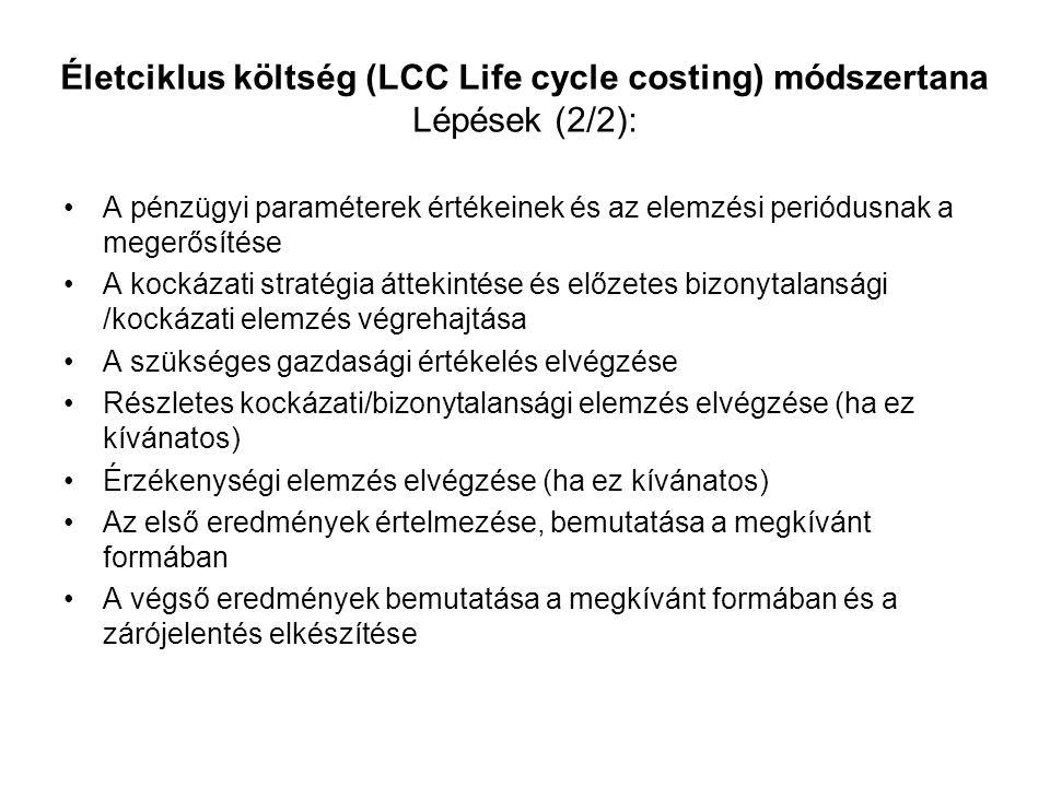 Életciklus költség (LCC Life cycle costing) módszertana Lépések (2/2): A pénzügyi paraméterek értékeinek és az elemzési periódusnak a megerősítése A k