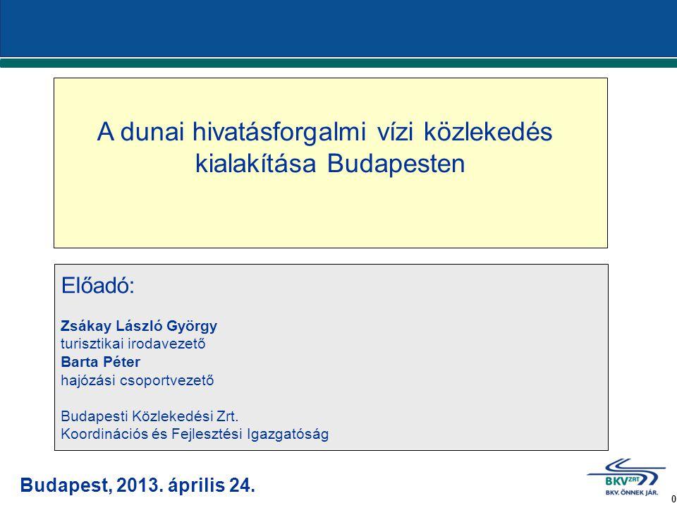 1 A dunai hivatásforgalmi vízi közlekedés kialakítása Budapesten Forrás: 493 millió Ft Projektgazda: BKV Zrt.
