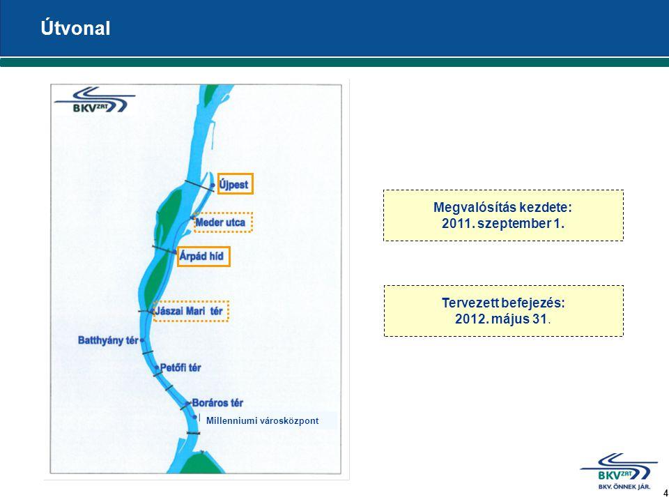 4 Útvonal Megvalósítás kezdete: 2011. szeptember 1. Tervezett befejezés: 2012. május 31. Millenniumi városközpont