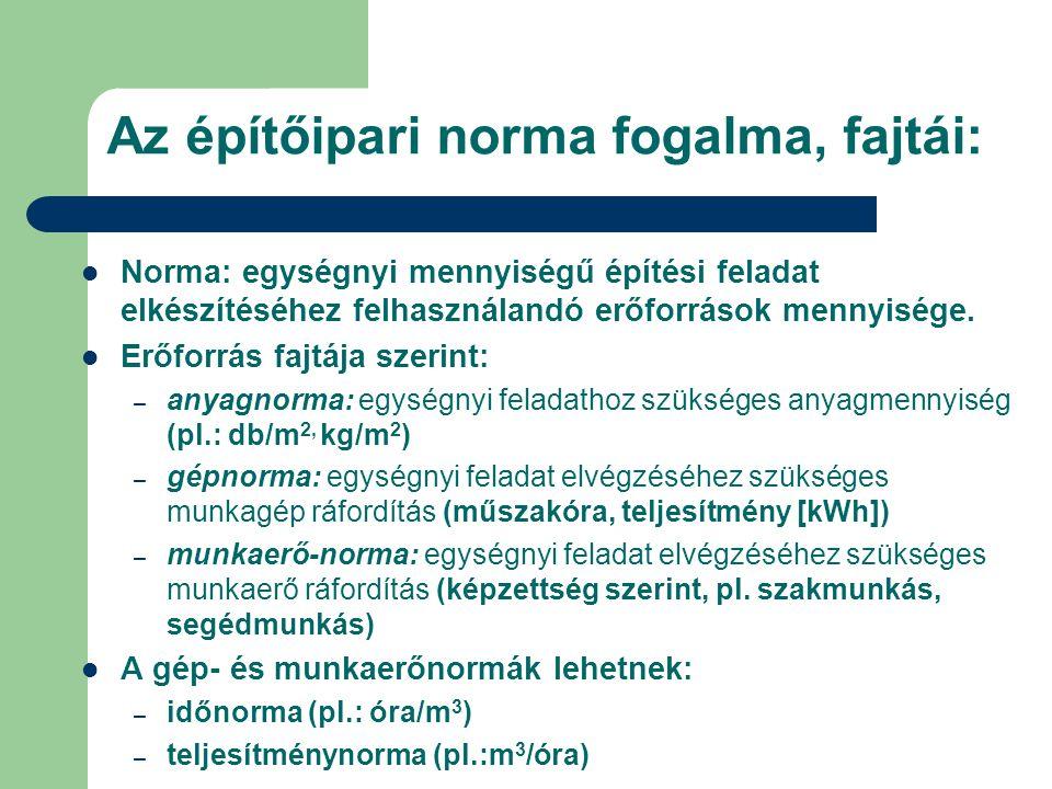 Az építőipari norma fogalma, fajtái: Norma: egységnyi mennyiségű építési feladat elkészítéséhez felhasználandó erőforrások mennyisége. Erőforrás fajtá