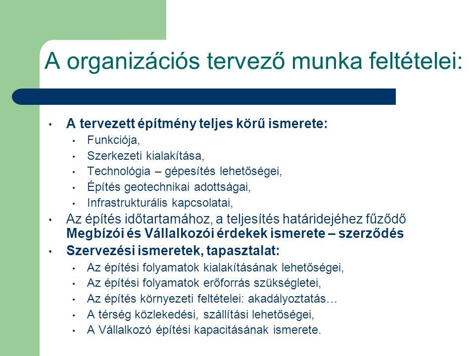 A organizációs tervező munka feltételei: A tervezett építmény teljes körű ismerete: Funkciója, Szerkezeti kialakítása, Technológia – gépesítés lehetős