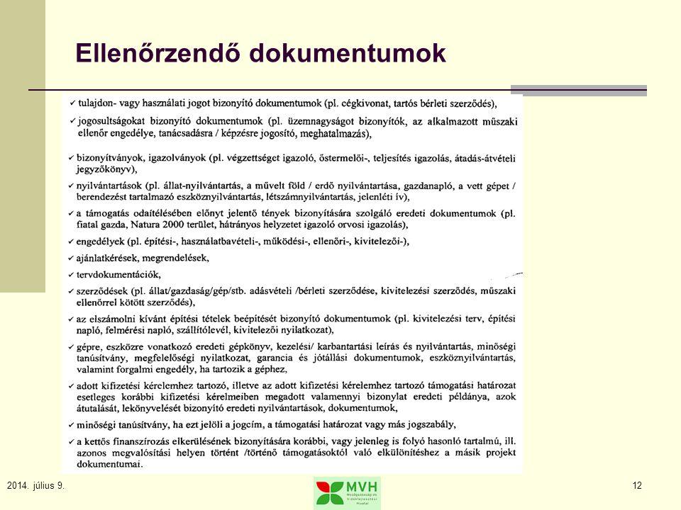 2014. július 9.12 Ellenőrzendő dokumentumok