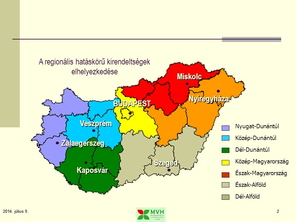 2014. július 9.2 2 Nyugat-Dunántúl Közép-Dunántúl Dél-Dunántúl Közép-Magyarország Észak-Magyarország Észak-Alföld Dél-Alföld Kaposvár Zalaegerszeg Ves