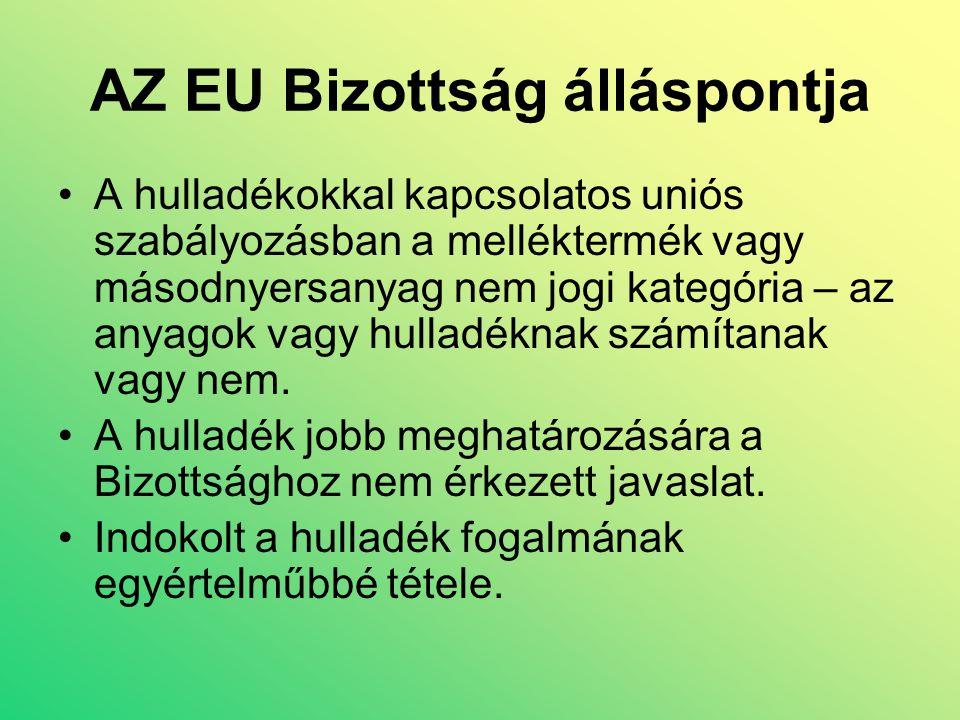 AZ EU Bizottság álláspontja A hulladékokkal kapcsolatos uniós szabályozásban a melléktermék vagy másodnyersanyag nem jogi kategória – az anyagok vagy