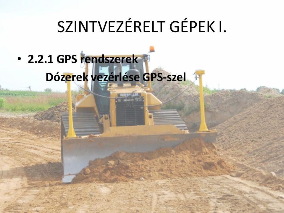 SZINTVEZÉRELT GÉPEK I. 2.2.1 GPS rendszerek Dózerek vezérlése GPS-szel