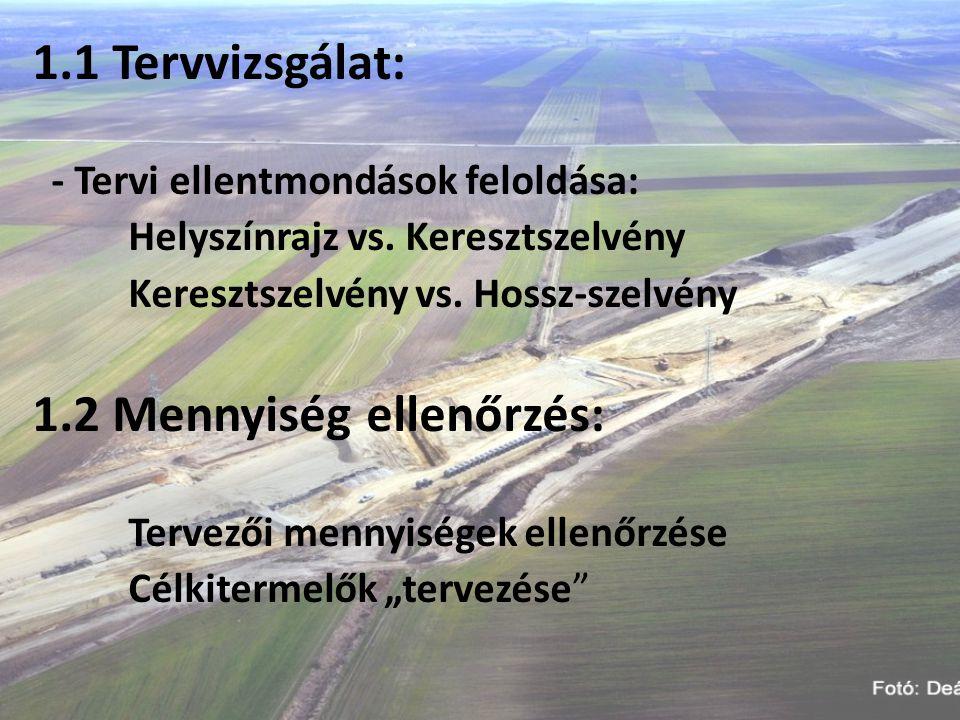 1.3 Geodéziai terv: Eljárásrend Felelősségi körök: Vállalkozó, Mérnök… Személyi-tárgyi feltételek Alappont sűrítés Munkafolyamatok követelményrendszere Hó végi elszámolások Minősítések alapjai